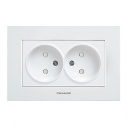 Double Socket 2P, With Child Protection, Complete