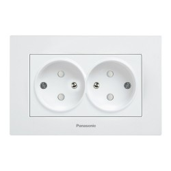 Double Socket 2P+E (French Type), Child Protection, Complete